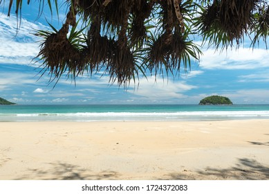 Beautiful wave on the beach, clear water, white sand in your holiday at andaman sea Phuket Thailand.  Beautiful beaches without tourists due to the epidemic of the covid virus.