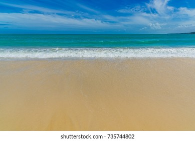 Beautiful wave of sea on sand beach, Phuket, Travel in Thailand, Summer holiday and vacation trip