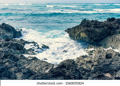 Beautiful waves, rocks and ocean at Alii Beach Park in Haleiwa town at the Northshore of Oahu Island, Hawaii, USA
