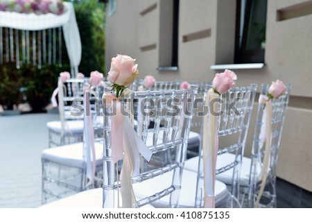 Beautiful Wedding Arch Chairs Marriage Decorated Stock Photo Edit