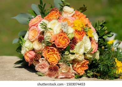 beautiful wedding bouquet of the bride