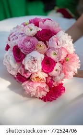 beautiful wedding bouquet in the bride's hands