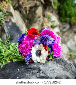 beautiful wedding bouquet on a stone