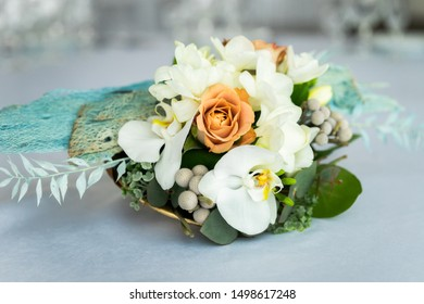 Beautiful wedding bouquet is on the table