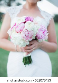 beautiful wedding bouquet, peonies