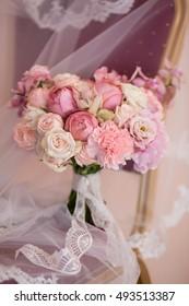 beautiful wedding bouquet, pink flowers, closeup