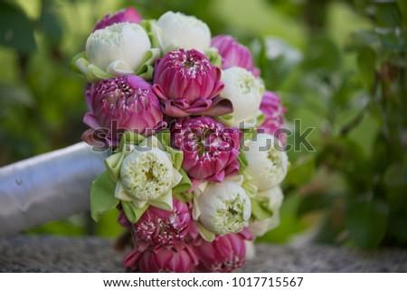 Beautiful Wedding Bouquet Pink White Lotus Stock Photo Edit Now
