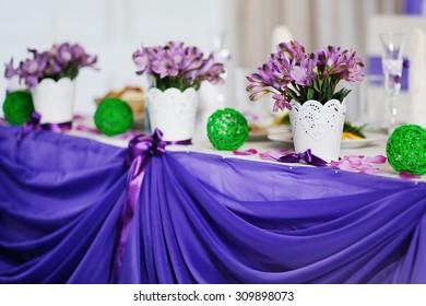 beautiful wedding bouquet of purple flowers