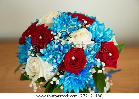Beautiful Wedding Bouquet Red White Flowers Stock Photo Edit Now