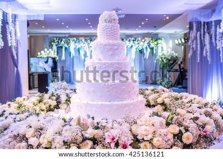 Beautiful Wedding Cake Decoration Wedding Reception Stock Photo