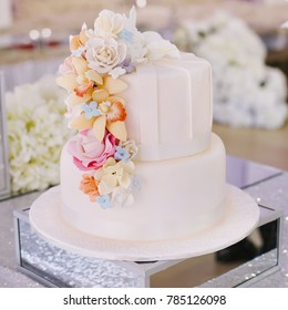 Beautiful wedding cake on the table