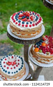 Beautiful wedding cakes. Closeup of fruit wedding cakes.