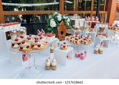 Beautiful wedding candybar with cakes with raspberry, souffle and wooden birdhouse decoration.