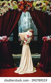Beautiful wedding ceremony place with rose decoration