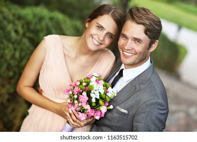 Beautiful wedding couple enjoying wedding
