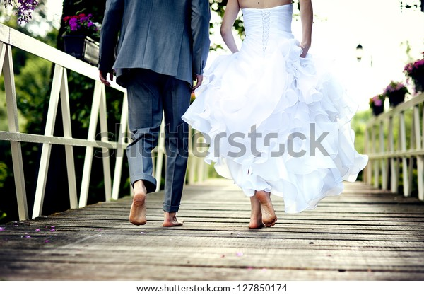 Beautiful wedding couple is enjoying wedding