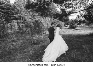 Beautiful wedding couple in the forest. The bride with tulle veil and trained open low back dress is walking with groom in checkered suit. Black and white rustic outdoors love story photo.