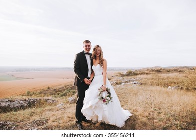 beautiful wedding couple in the mountains