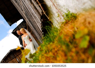 Beautiful wedding couple posing on green fiel near old house