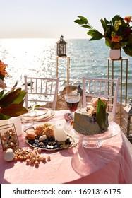 beautiful wedding decor on the sea