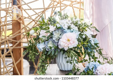 beautiful wedding decor, restaurant, ceremony and photo zone