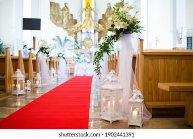 Beautiful wedding decoration in the church