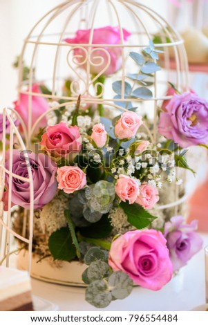 Beautiful Wedding Decoration Flowers Birdcage Stock Photo Edit Now