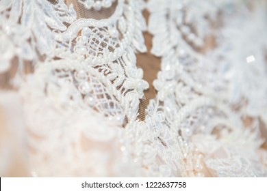 beautiful wedding dress close-up details of wedding lace