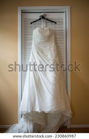 Beautiful Wedding Dress On Hanger Natural Stock Photo (Edit Now ...