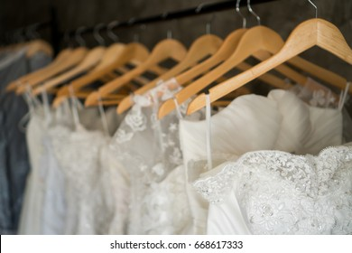 beautiful wedding dresses on a hanger