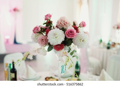 Beautiful wedding flower decoration on the table