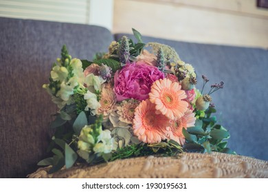 Beautiful wedding flowers bouquet close up