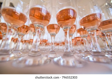 beautiful wedding glasses on table, selective focus