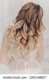 Beautiful Wedding Hairstyle of Woman. High Fashion Coiffure. Close Up of Hairdo