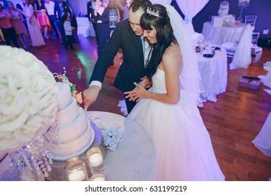 beautiful wedding at her wedding cut the cake
