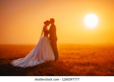 Beautiful wedding photo, bride and groom in morning autumn landscape