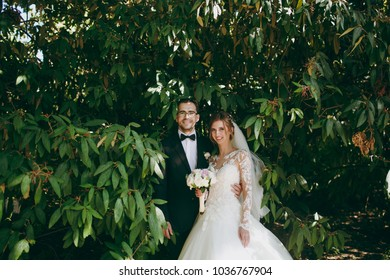 Beautiful wedding photosession. Groom in black suit, white shirt, bow tie and glasses and bride in elegant lace dress with veil and bouquet of white and pink flowers amidst the branches of green bush.