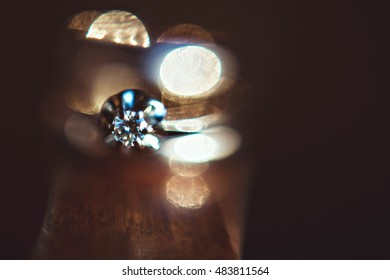 beautiful wedding ring with diamonds on the table