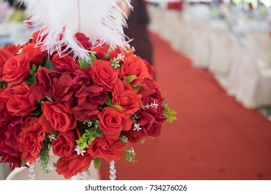 Beautiful wedding roses bouquet decoration in wedding event
