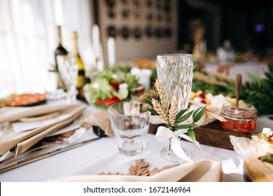 Beautiful wedding table decoration and decor in boho or rustic style