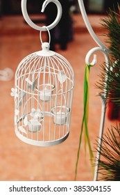 beautiful wedding white cage on the reception