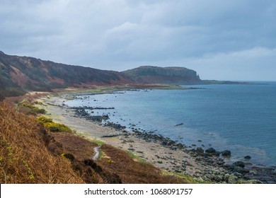 The beautiful west coast of the Isle of Arran. Near the King's Cave, with stunning views of the firth of Clyde and coastal beaches of Arran.