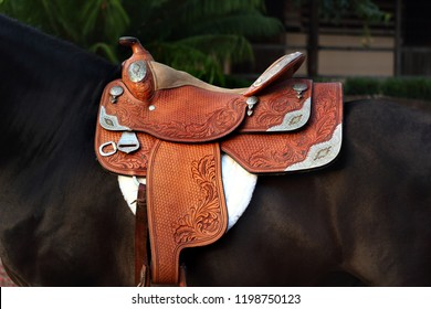 Beautiful western leather saddle for riding, close-up