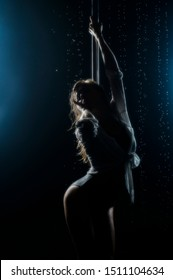 Beautiful wet athletic busty elegant blonde girl performs artistic elements of an exotic dance on the rain. Health, lifestyle, sports design. Copy space
