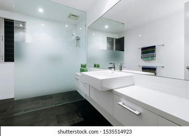 Beautiful white bathroom in new luxury home
