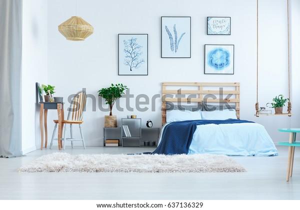Beautiful White Bedroom Dressing Table Bed Stock Photo (Edit ...
