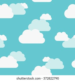 Beautiful white and bluish clouds on light turquoise blue sky seamless pattern