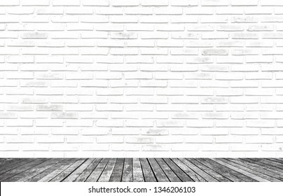 The Beautiful White Brick Wall Texture With Walk Way as Background, White Wall Surface