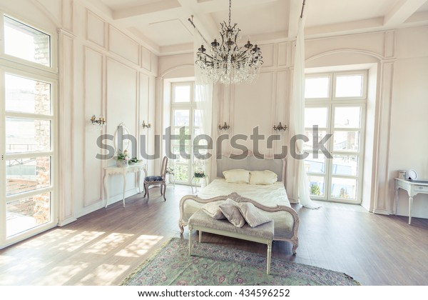 Prime Beautiful White Bright Clean Interior Bedroom Stock Photo Home Interior And Landscaping Staixmapetitesourisinfo
