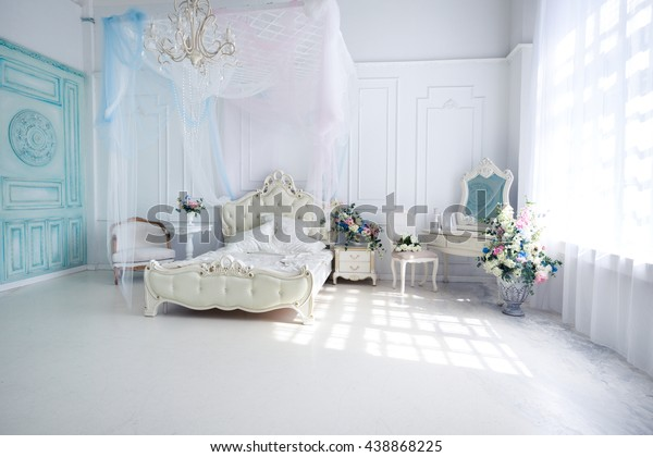 Brilliant Beautiful White Bright Clean Interior Bedroom Stock Photo Home Interior And Landscaping Eliaenasavecom